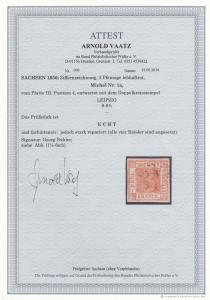 Sachsen: MiNr. 1a, gestempelt Leipzig, Platte III, Position 4, BPP Attest
