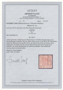 Sachsen: MiNr. 1a, VI/14 gestempelt Leipzig, BPP Attest