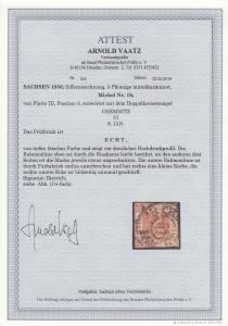 Sachsen: MiNr. 1b, Platte III, Position 3, gestempelt Chemnitz, BPP Attest