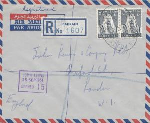 Bahrain: Air mail Registered 1964 to London
