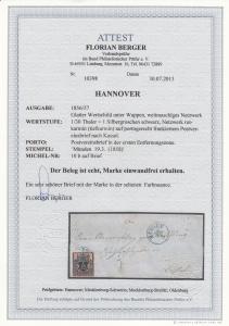 Hannover: MiNr. 10b auf Brief 1858 Münden, BPP Attest
