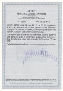 Karolinen: MiNr. 6/I, Stempel Ponape 1900, Briefausschnitt, BPP Attest