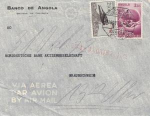 Angola: 1952: air mail Luanda to Braunschweig, Perfin