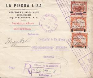El Salvador 1930 Sonsonate registered to Rückmarsdorf