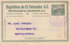 El Salvador 1924 post card Banco Occidential to Hamburg