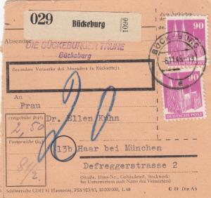 BiZone Paketkarte 1948: Bückeburger Truhe, Bückeburg nach Haar, Nachgebühr