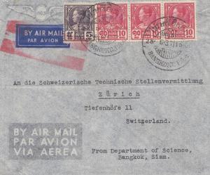 Thailand 1937: air mail Bangkok to Zürich