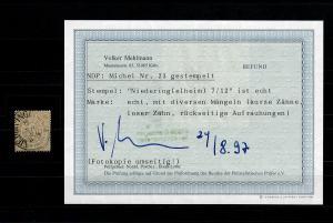 NDP: MiNr. 23, gestempelt Niederingelheim, BPP Befund