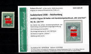 Sudetenland MiNr. 134, postfrisch, **, Reichenberg, Auflage ca. 200 Stück