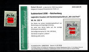 Sudetenland MiNr. 132, Falz, *, Reichenberg, Auflage ca. 100 Stück