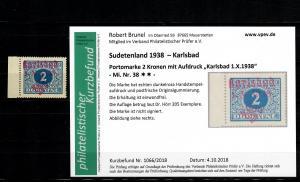 Sudetenland MiNr. 38, postfrisch, **, Auflage 205 Stück
