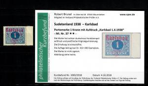 Sudetenland MiNr. 37, postfrisch, **, Auflage 490 Stück