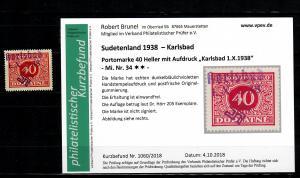 Sudetenland MiNr. 34, postfrisch, **, Auflage 205 Stück, Karlsbad