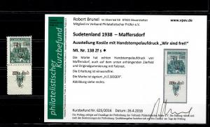 Sudetenland MiNr. 138 Zf s, Falz, *