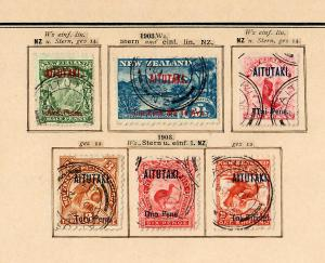Aitutaki: first stamps 1-6 complete cancelled