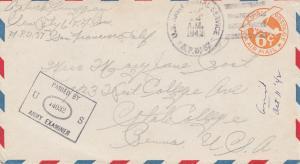 USA 1942: Army postal service, Examiner to Fidschi Island