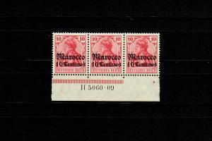 Dt. Post in Marocco: MiNr. 36, 3er Streifen Unterrand, HAN, postfrisch, **