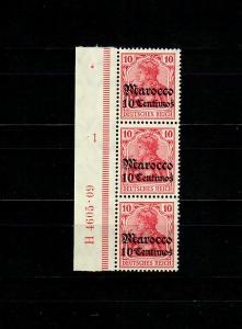 Dt. Post in Marocco: MiNr. 36, 2er Streifen Seitenrand, UR-HAN, postfrisch, **