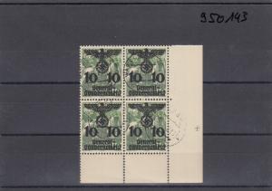 GG Generalgouvernement MiNr. 20,gestempelt, Eckrand-4er Block, Plattennummer 4