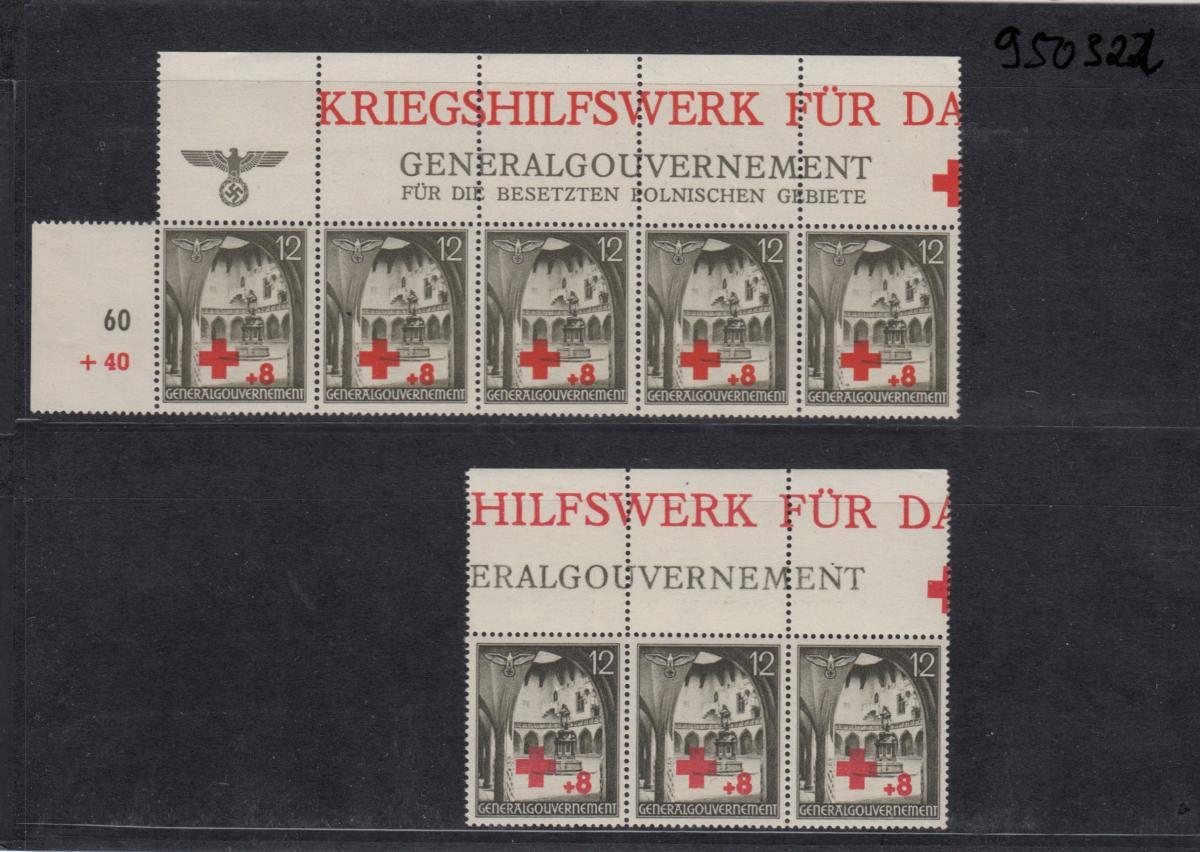GG Generalgouvernement MiNr. 52, ** postfrisch, verschiedene Oberränder/Auflagen 0