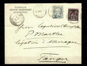 Dt. Post in Marocco Brudo Privatpost und franz. Doppelfrankatur auf Brief Tanger