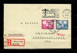 DR MiNr. 506/507 auf R-Brief mit Passionsstempel Oberammergau nach USA 1934 Zoll