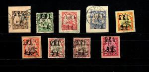 Samoa GRI MiNr. 1-9, teils auf Briefstücken, gestempelt, geprüft