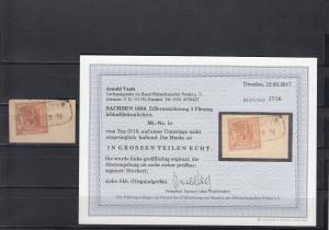 Sachsen MiNr. 1c, Typ II/15 auf Unterlage, gestempelt, BPP Befund
