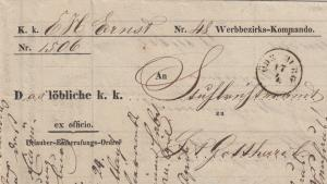 Brief 1856 Werbbezirks-Kommando, Körmer, Gotthard