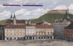 Ansichtskarte Ljubljana Hotel pri Slonu - Glavna posta- Grad