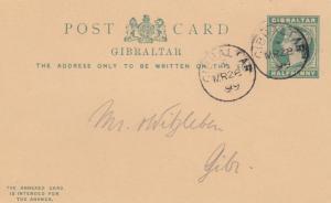 2x Ganzsache Gibraltar 1899, 1x mit Antwortkarte