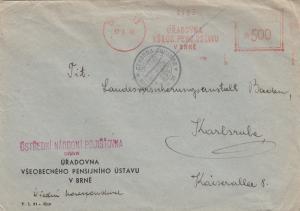 1948: Meter cancel Brné to Karlsruhe