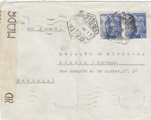 5x letter: 1942/44: Madrid to Deutsche Botschaft in Lisboa, censorship