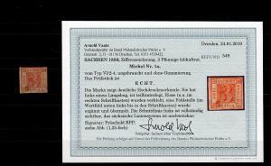 Sachsen: MiNr. 1a, ohne Gummi, ungebraucht, BPP Befund