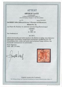 Sachsen: MiNr. 1b, gestempelt 1850, Leipzig, BPP Attest