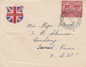 1945: letter Wallsend to Australia Londong, Sweed Rivert NSW