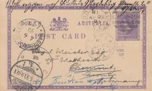 1893: post card Adelaide to Chemitz, forwarded Magdeburg/Germany