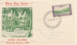 1949: FDC Cook Islands, Rarotonga, Pictorial Stamps