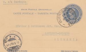 Post card 1905 Buenos Aires to Leutzsch/Leipzig vai s/s Sardegna
