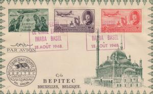 1948: Cairo to Brussels, air mail Imaba to Basel, back: Bepitec Stamp