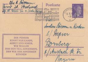 Ganzsache Stralsund 1943 mit Werbestempel