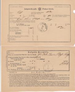 1876/77: 15x Rossbach/Böhmen, Aufgabe Bescheinigung, Aufgabeschein