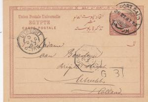 1887: post card Egypte, Porto Said to Utrecht/NL