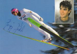 Autogrammkarte Hansjörg Jäkle, Skispringer, Sonderstempel Laufenburg 1995