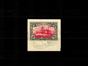 Marianen: MiNr. 19 auf Briefstück, gepr. Buthe