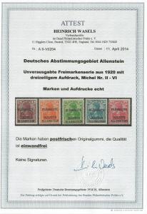 Allenstein: MiNr. II-VI, postfrisch, ** mit BPP Attest