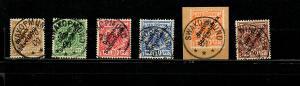 DSWA: MiNr. 5-10, schön gestempelt, Nr. 9 auf Briefstück und geprüft