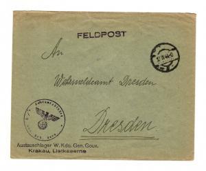 Feldpost 1944 Austauschlager W. Kdo. Generalgouvernement, Krakau Listkaserne