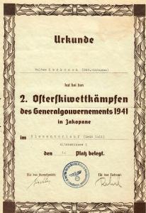 Urkunde: 2. Osterskiwettkämpfe des GG 1941 in Zakopane, 1. Platz