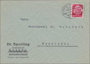 Bahnpost: Brief aus Nossen mit Zugstempel Leipzig-Dresden nach Wunsiedel 1939